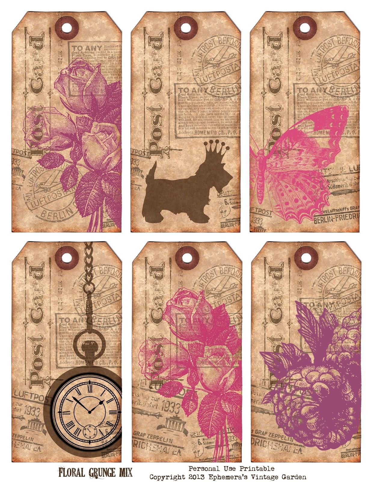 Retro floral nursery : Free printable vintage tags