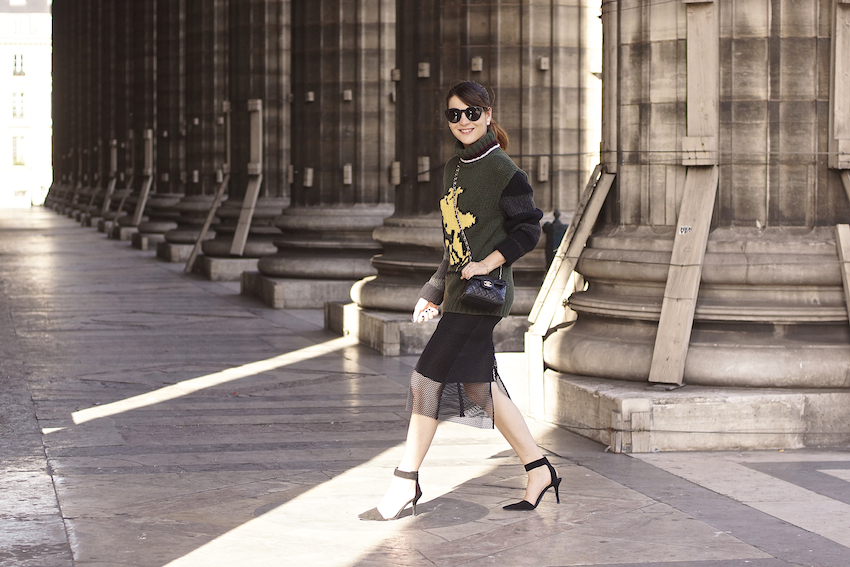 street style paris black skirt fashion week fay sweater irene buffa