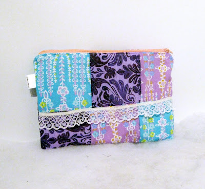 Cosmetics bag purple patchwork