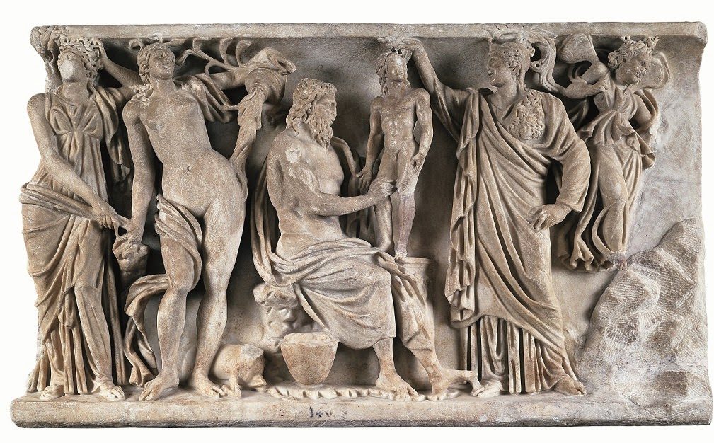 Relieve sepulcral con Prometeo y Atenea creando al primer hombre. Hacia 185 dC. Museo Nacional del Prado, Madrid