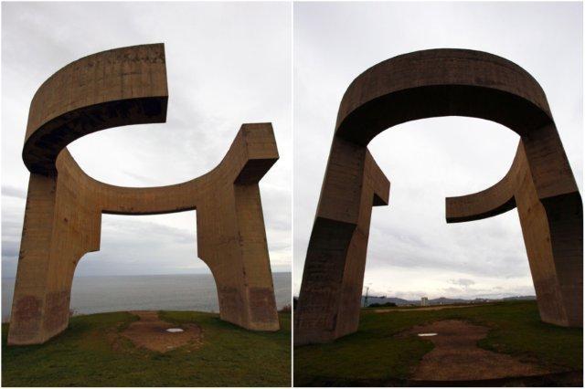 Escultura Elogio del Horizonte en el Cerro de Santa Catalina en Gijon, parte delantera y trasera