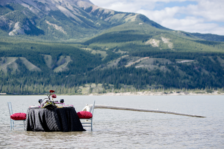 jasper lake, alberta, canada, wedding