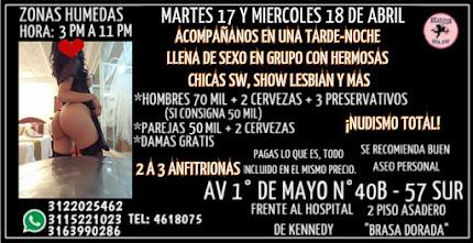 MARTES 17 Y MIERCOLES 18 DE ABRIL DE 3 PM A 11 PM GANG BANG CON HERMOSAS CHICAS
