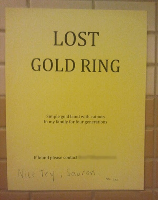 Lost Gold Ring - Nice try Sauron