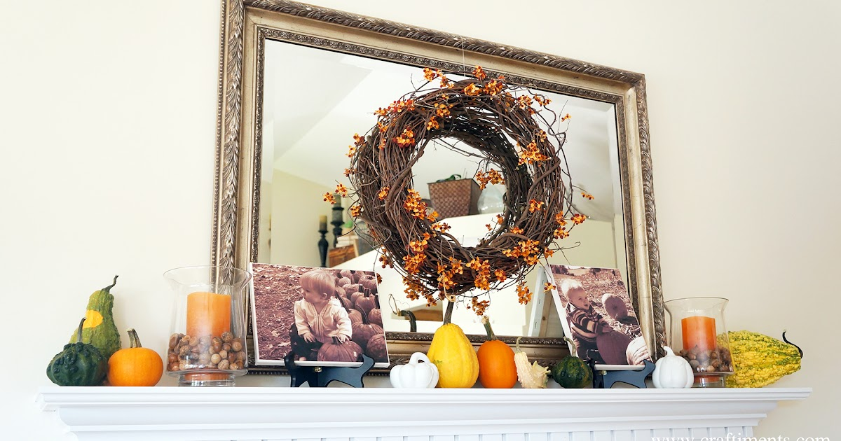 Nature Inspired Autumn Mantel and Decor