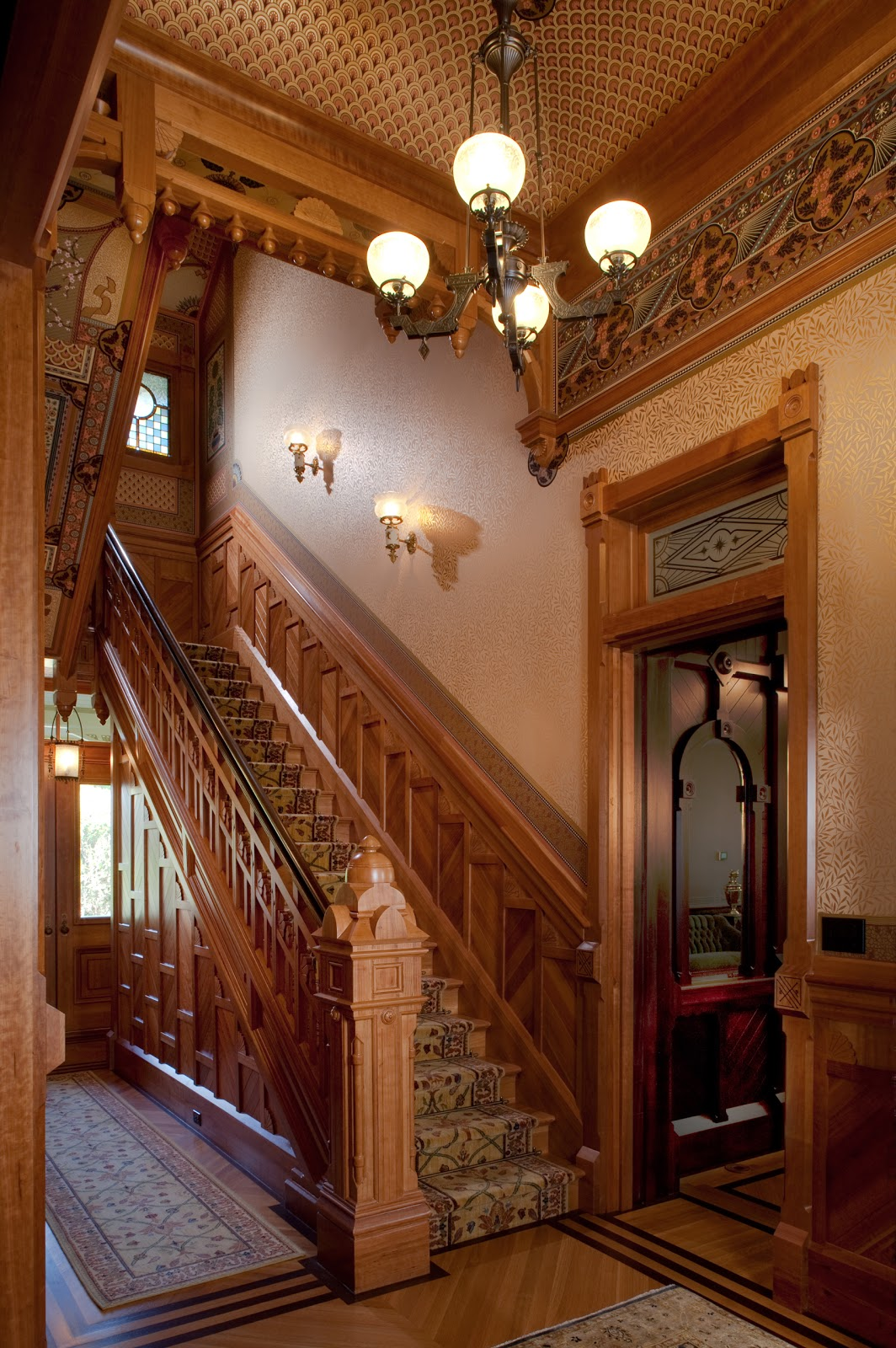 Rynerson obrien architecture inc the mcdonald mansion 39 s for Wallpaper for home hall