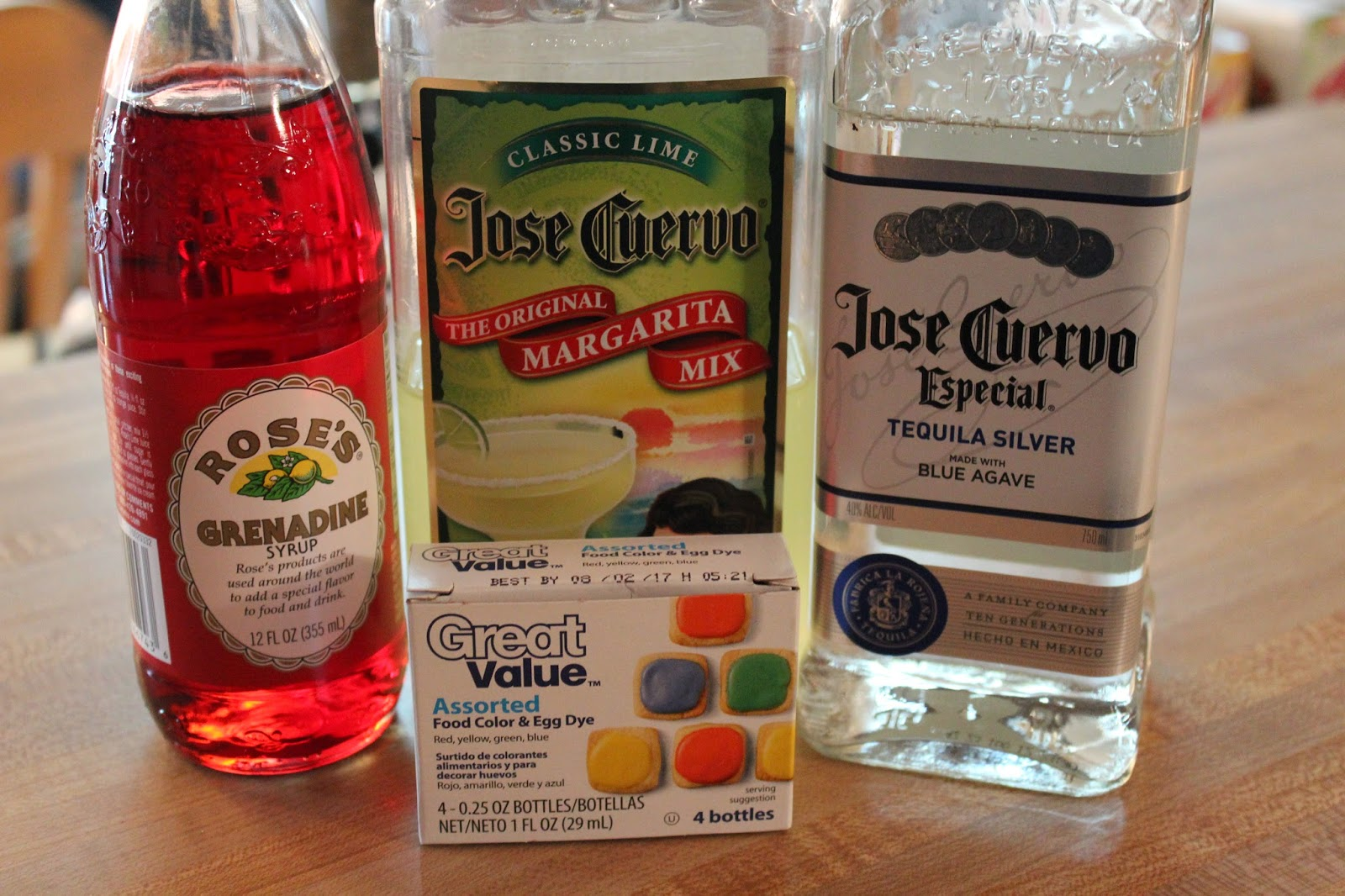 ingredients, recipe, margarita, easter, easter drink, alcoholic drink, alcohol recipe, grenadine, tequila, jose cuervo,