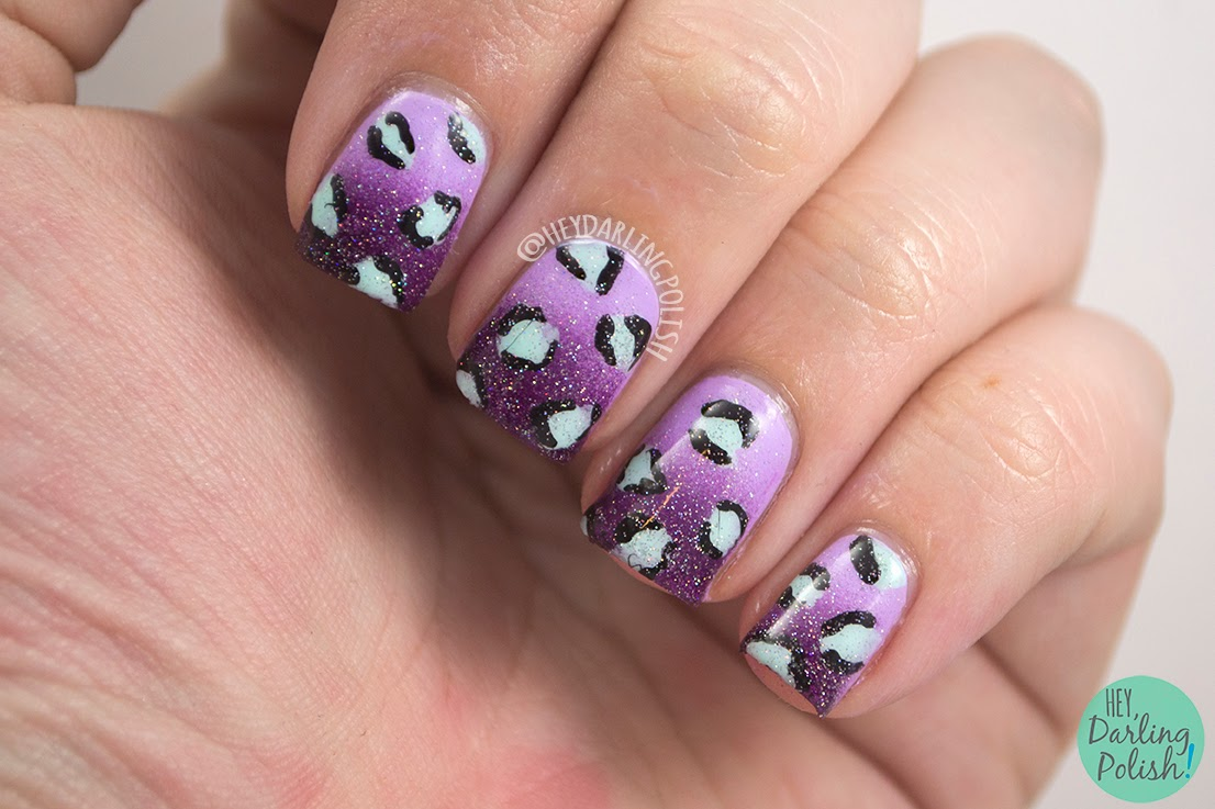 nails, nail art, nail polish, polish, leopard, hey darling polish, nail art ideas linkup, nail linkup, purple