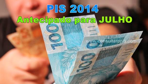 Pagamento PIS 2014 antecipado para julho