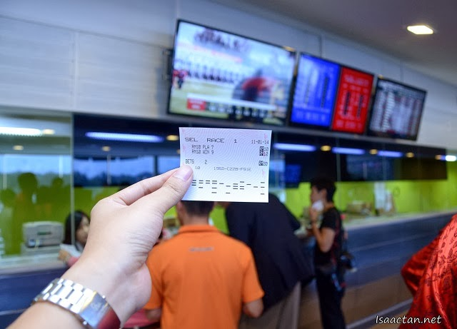 My very first horse race betting ticket, placed at the Selangor Turf Club