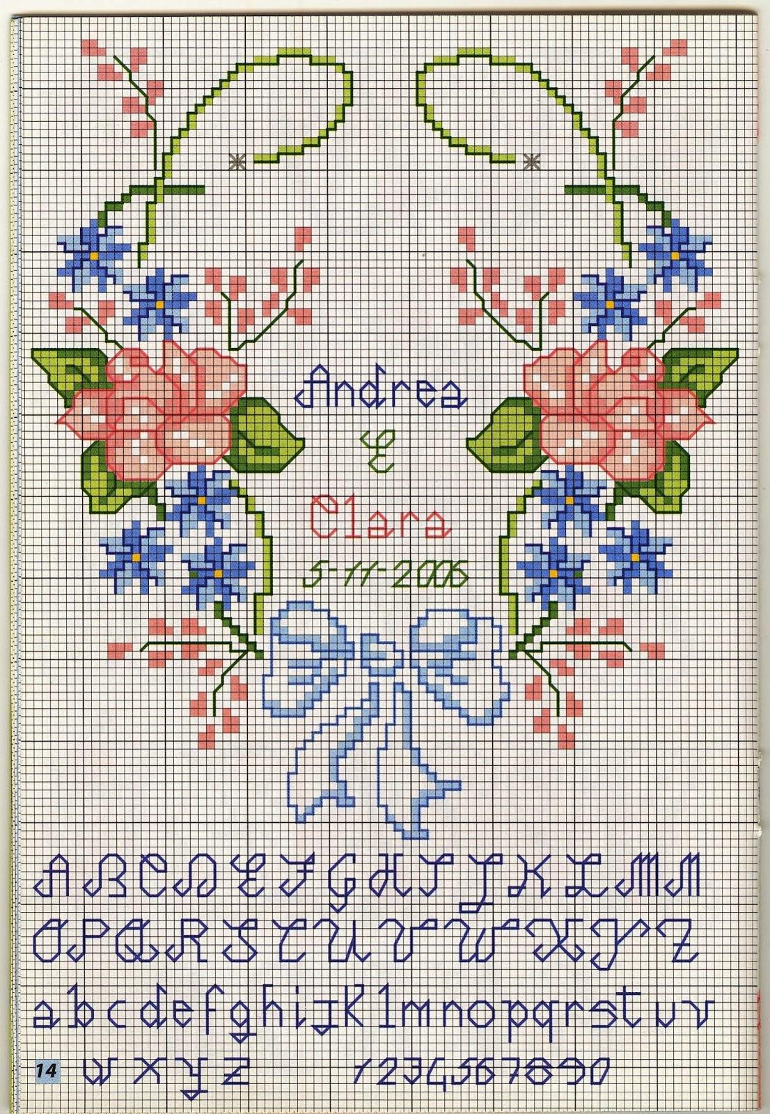 Hobby lavori femminili ricamo uncinetto maglia - Point de croix mariage grilles gratuites ...