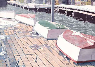 "South Bristol Coop - Dinghies On Float - Watercolor - 14"" x 20"" - Before Warming"