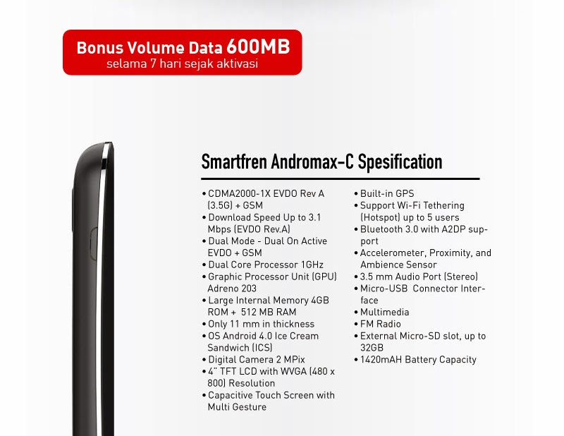 spesifikasi lengkap smartfren andromax C
