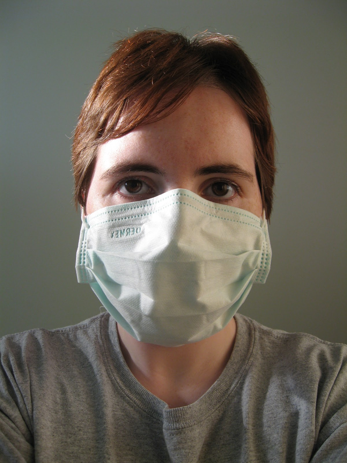 Styhat june 2012 this is me in the mask i wore for every dressing change my nurse had to wear one too sciox Choice Image