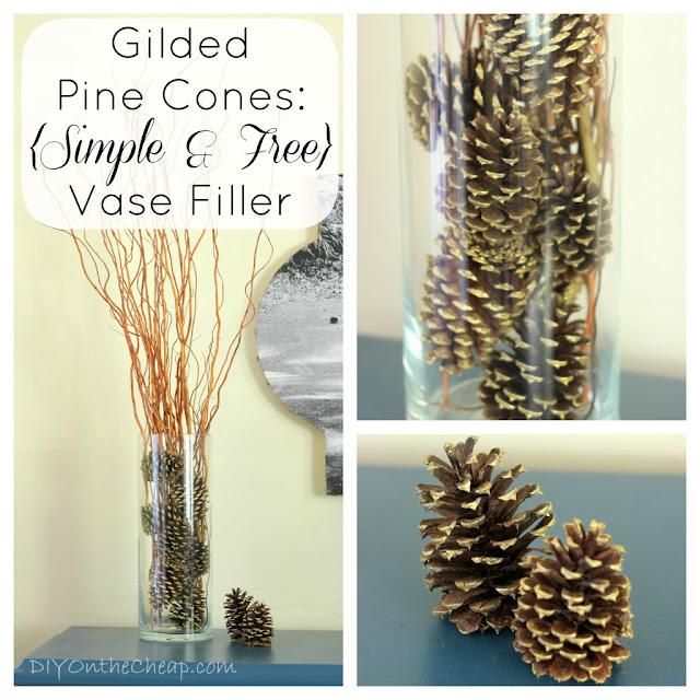 Gilded Pine Cones: Simple & Free Vase Filler