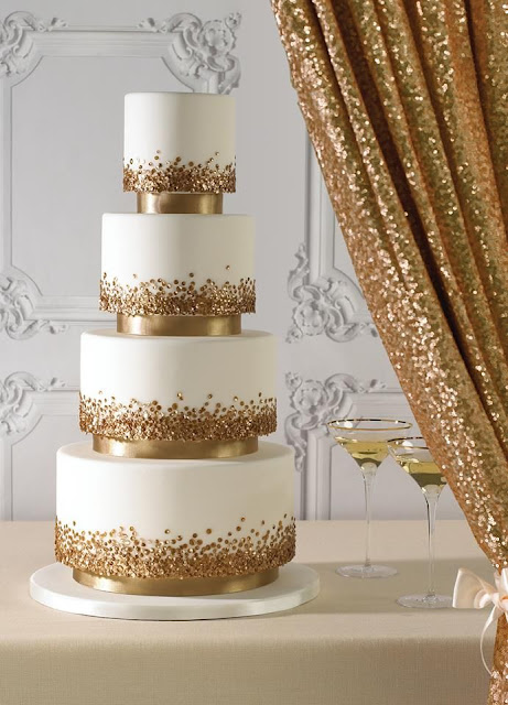 Wedding Tiered Cake with golden accents