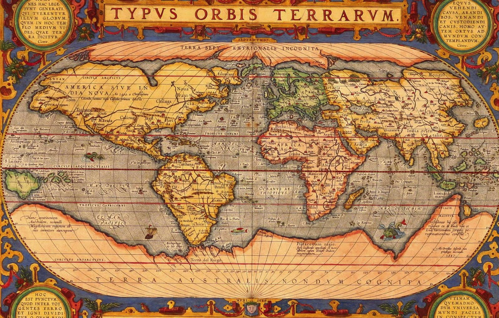 A history of graphic design chapter 6 cartography and designing orteliuss map of the world from 1601 gumiabroncs Gallery