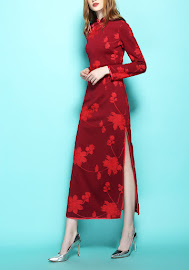 New 2017 Long Sleeve Red Embroidery Long Cheongsam
