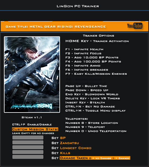 Metal Gear Rising Revengeance v1.1 Trainer +21 [LinGon]