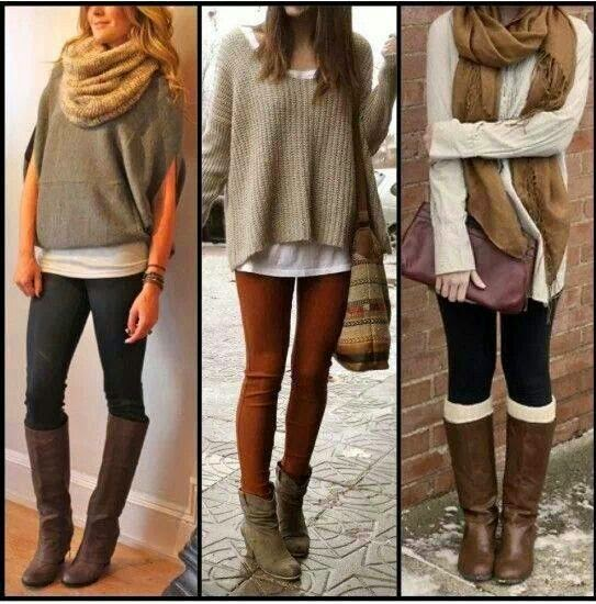 Sweater, tights, boots, scarf..