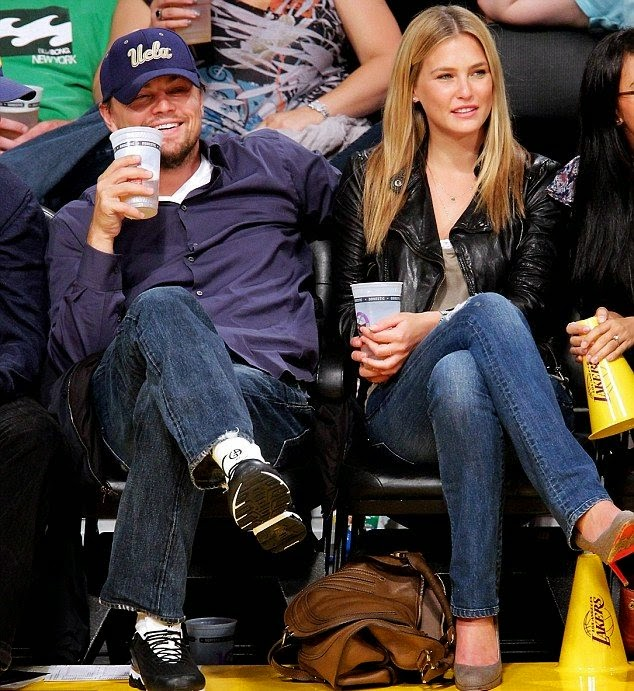 The Israeli supermodel, Bar Refaeli and Leo at NBA game in 2010, dated for six years.