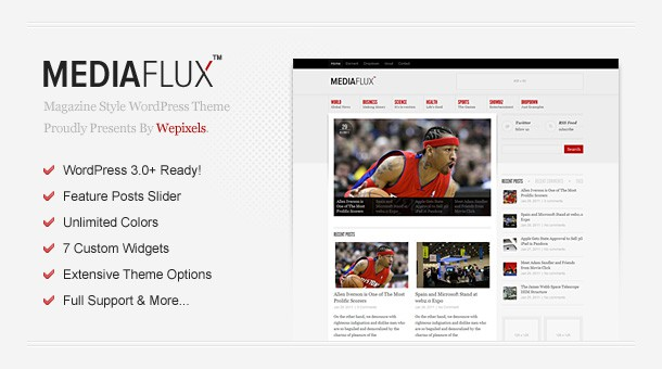 MediaFlux - Magazine WordPress Theme Free Download by MojoThemes.
