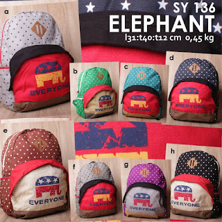 jual online tas ransel sekolah anak lucu gambar gajah