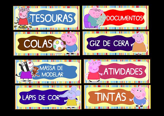 Etiquetas para organizar material escolar Peppa Pig