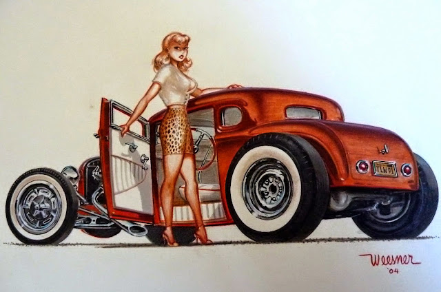 pin up girl and car