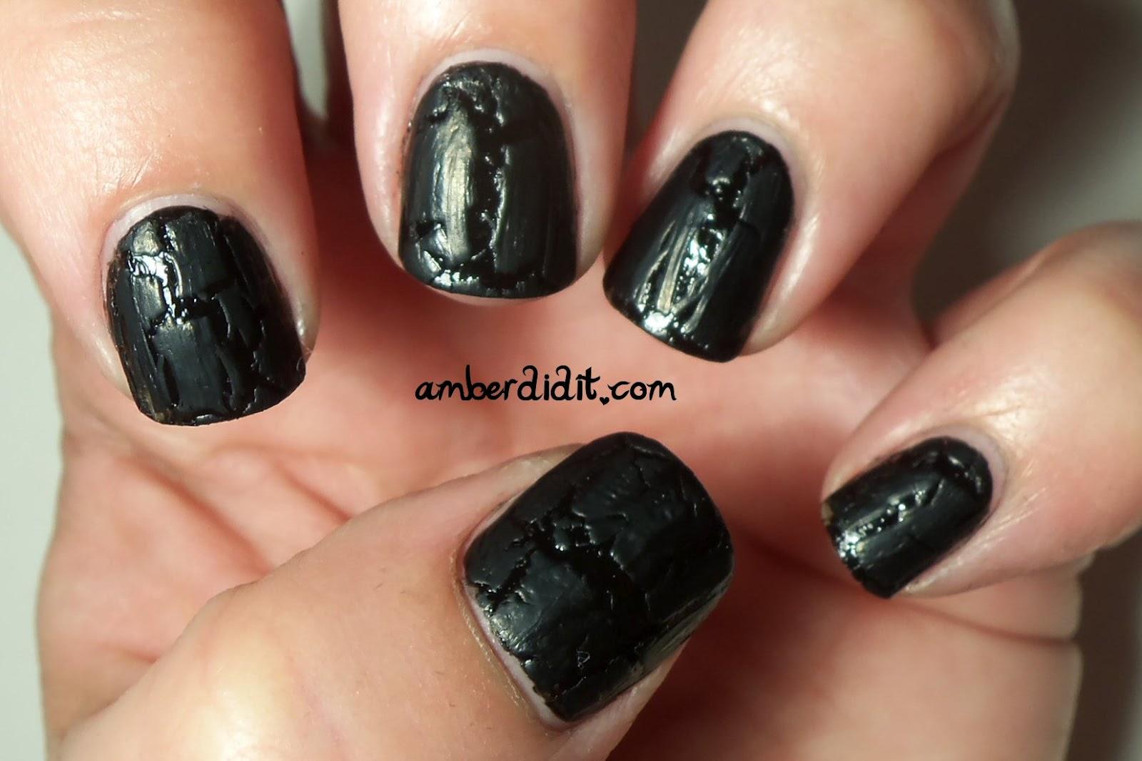 Amber did it!: Black on Black Crackle~Nail FAIL