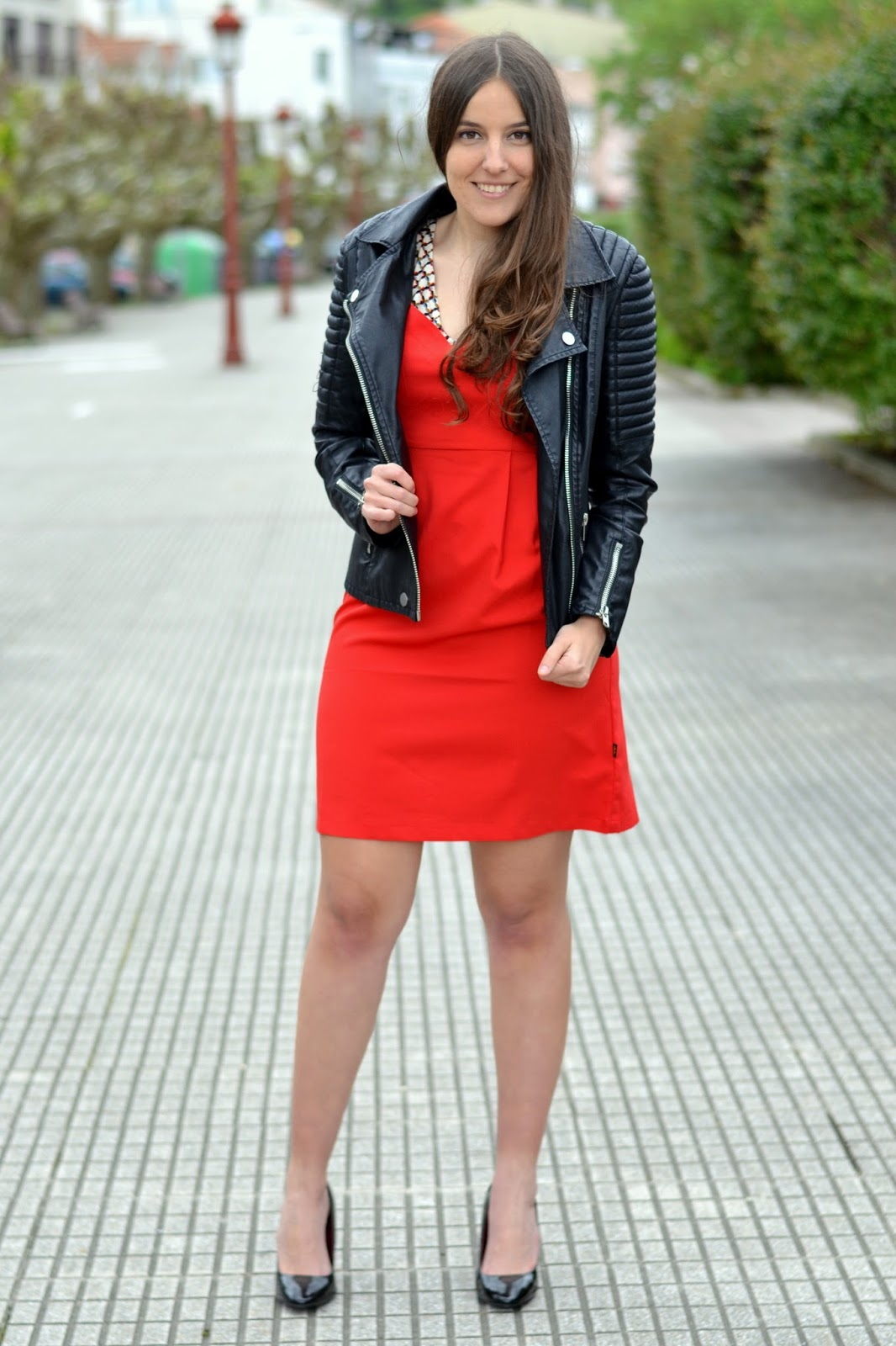 outfits red dress, leather jacket