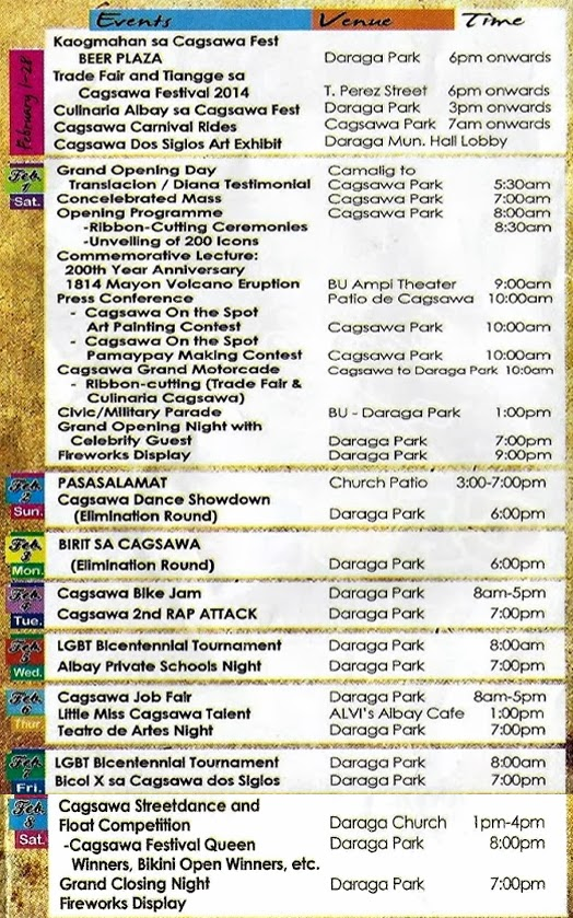 Cagsawa Festival 2014 | Schedule of Activities - Balita Boss!