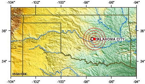 oklahoma city urban area, Oklahoma, usa earthquake 2013 February 27