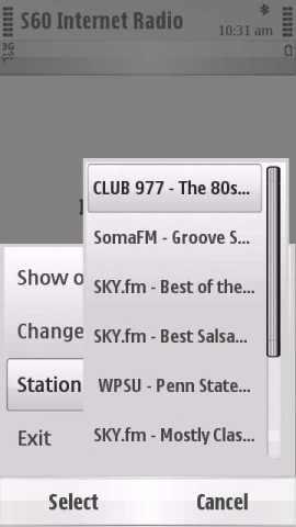 S60 Internet Radio Screenshot