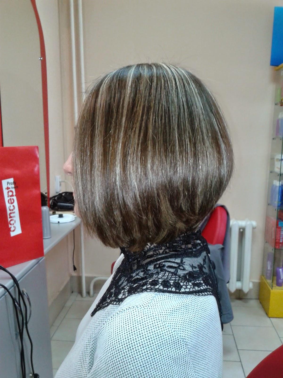 Стрижка боб и мелирование на средние волосы
