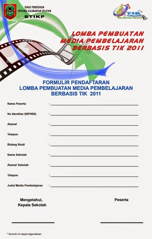 contoh formulir pendaftaran lomba tingkat sekolah