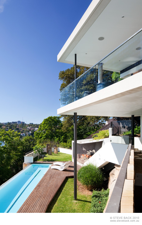Backyard of the River House by MCK Architects from the balcony