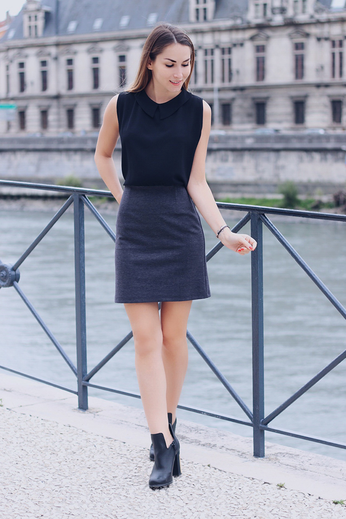 black grey dress