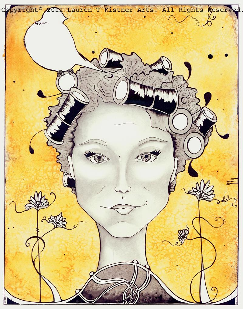© 2011 Lauren T Kistner. Liz in Curlers. Watercolor and ink on paper.