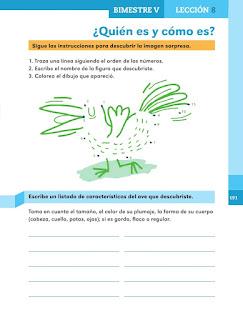 Apoyo Primaria Español 1er grado Bimestre 5 lección 8 ¿Quién es y cómo es?