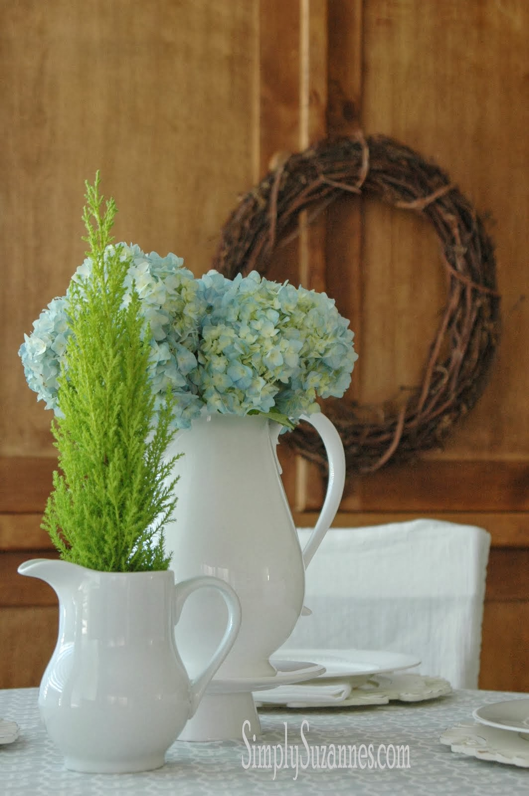 blue hydrangea & lemon cypress