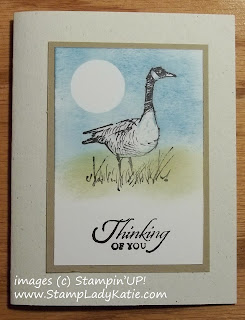 Card made with the Goose image from Stampin'UP!'s Wetlands stamp set showcasing the Crayon Resist Technique