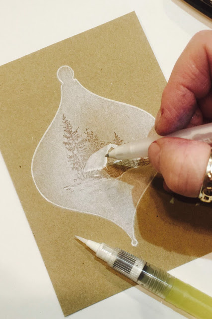 Inkylicious Winter Bauble - Faux Parchment - Step 5