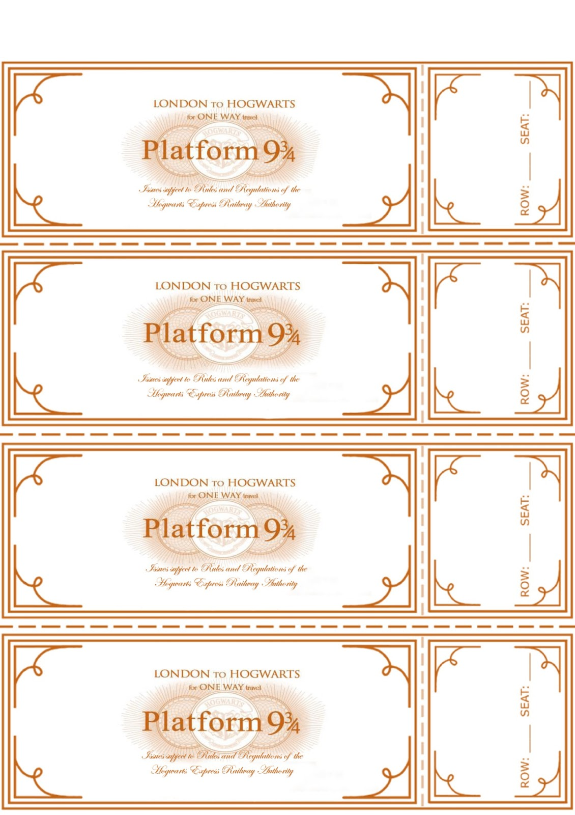 Enterprising image pertaining to hogwarts express ticket printable