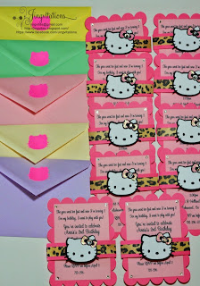 hello kitty leopard cheetah invitations