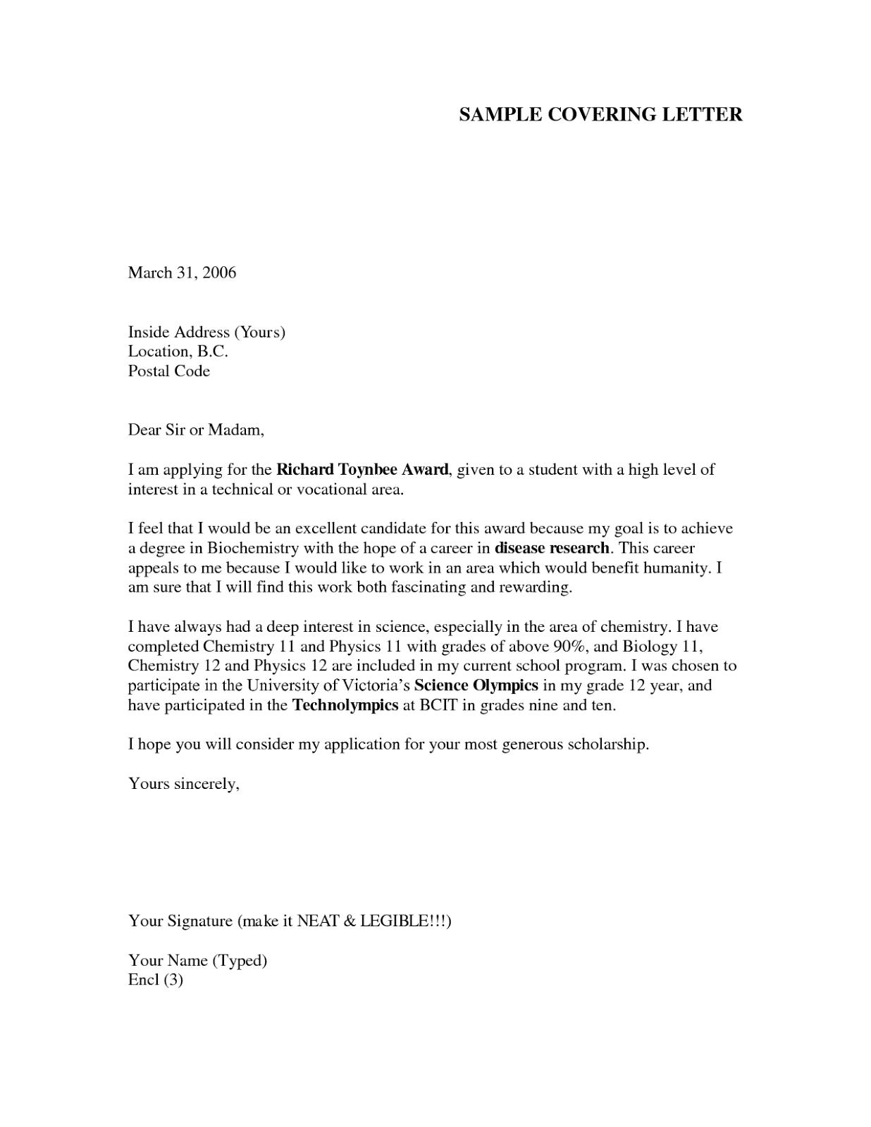 job application letter sample 6