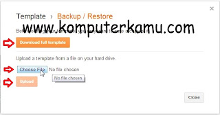 Upload atau download template