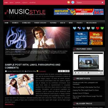 MusicStyle blog template. template image slider blog. magazine blogger template style. wordpress theme to blogger