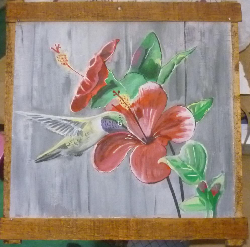 Colibr pintado en acr lico dibujo a l piz reciclaje - Como pintar un radiador ...