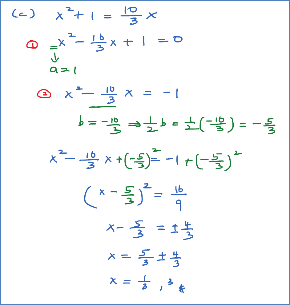 Solving Quadratic Equation Using Completing The Square Spm